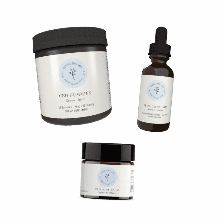 CBD Starter Kit that includes CBD gummies, CBD oil and CBD balm.